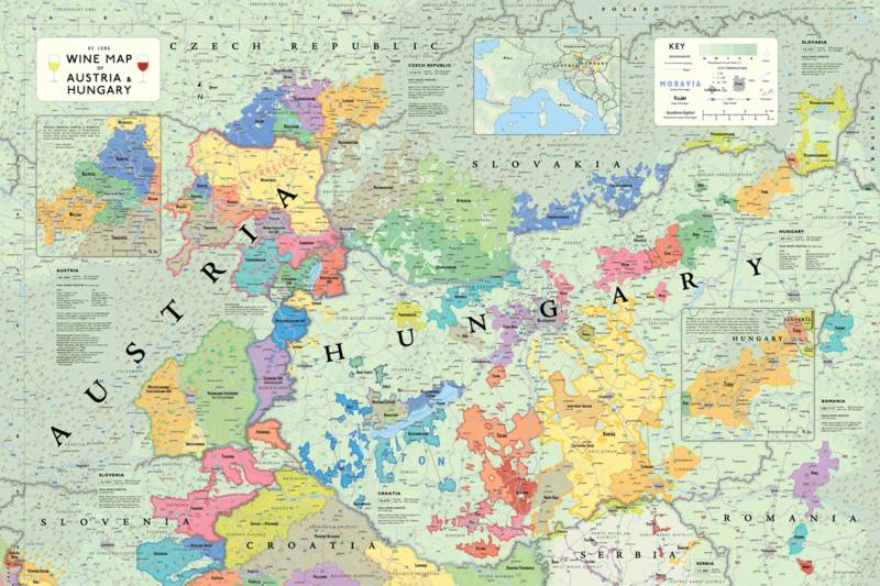 Wine map of Austria and Hungary