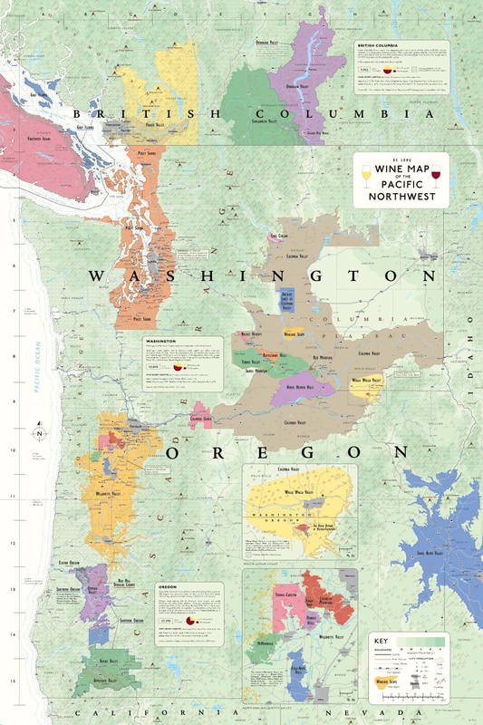 Wine map of Pacific Northwest